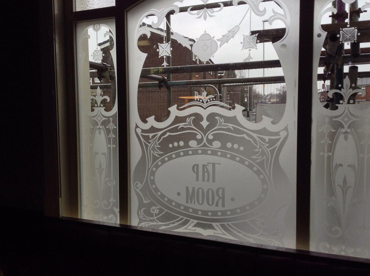 acid etched window panel