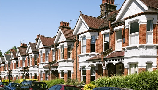 row of typical British houses