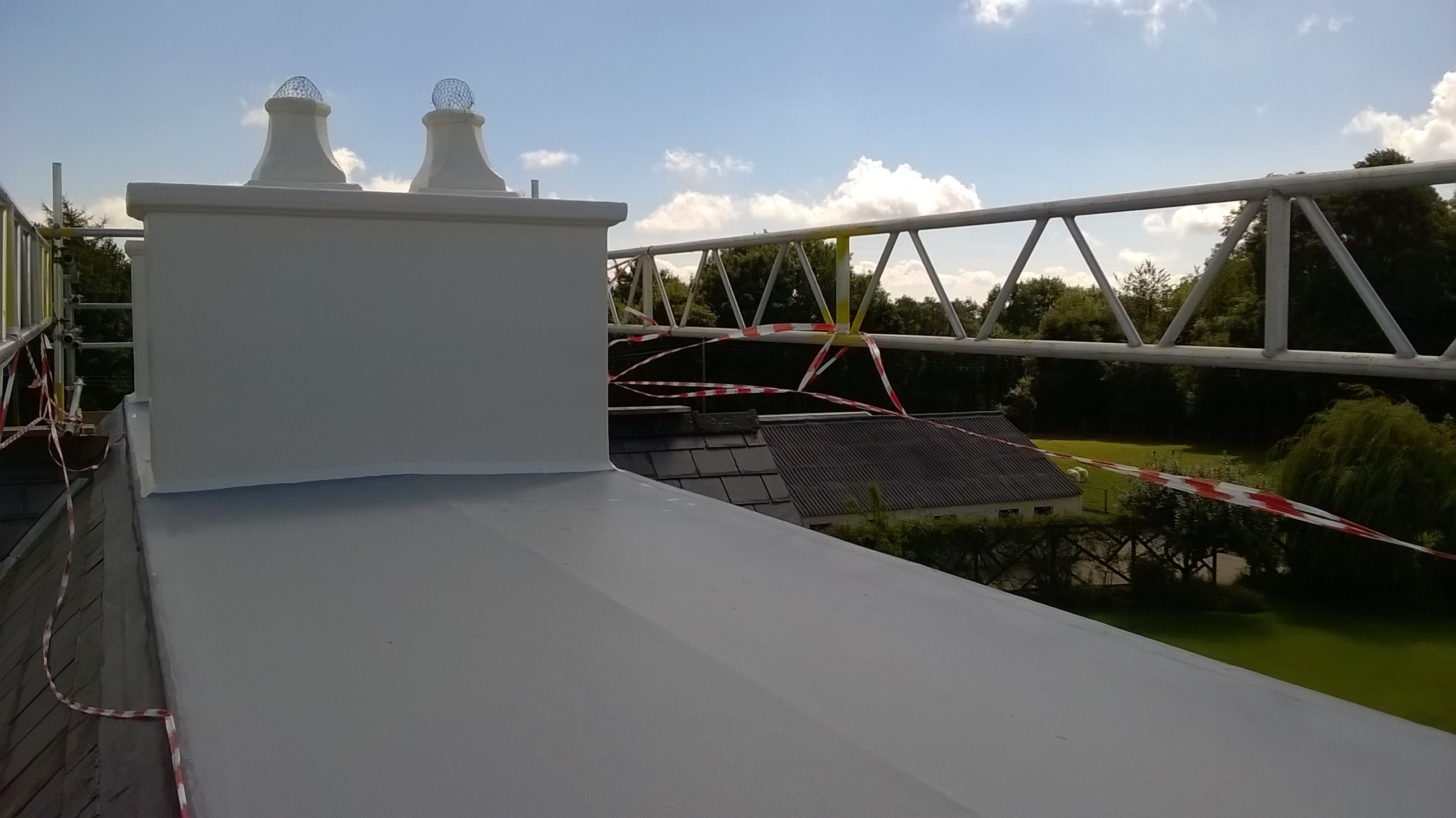 GRP chimney and flat roof Raglan