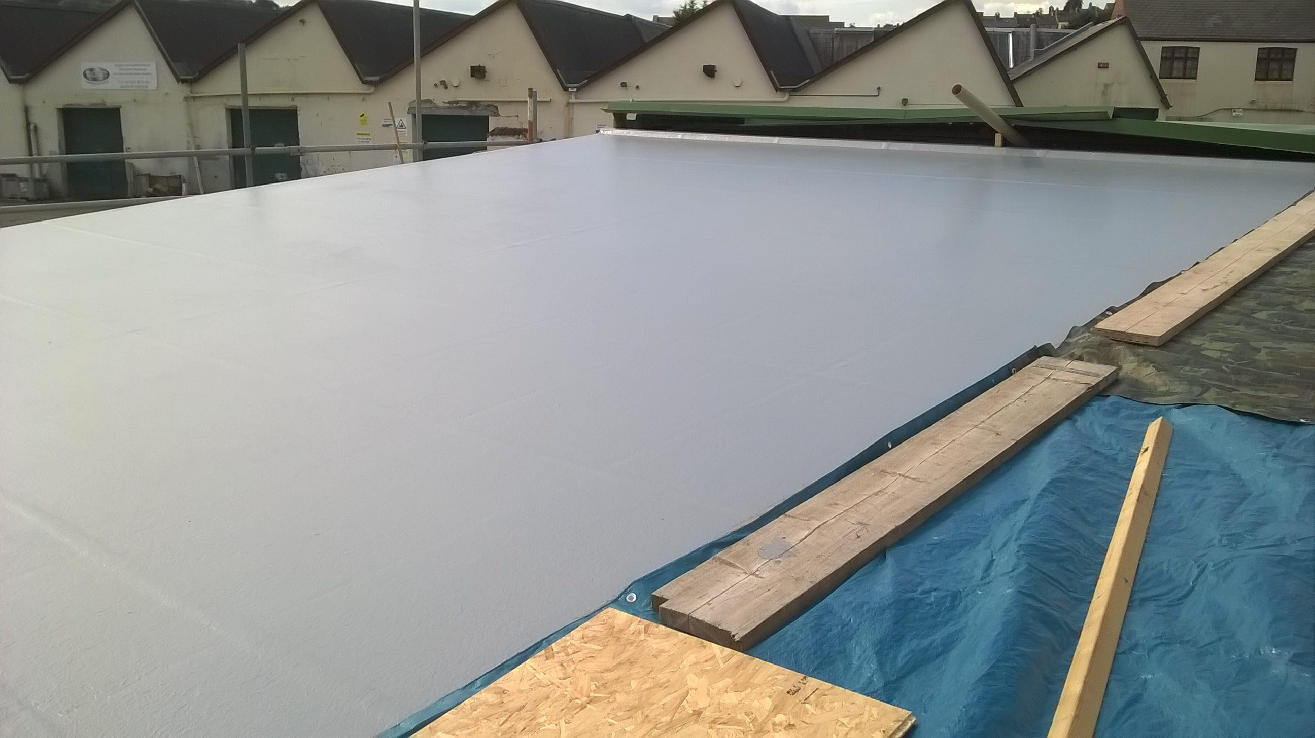 Fibreglass roof in Newport nearly complete