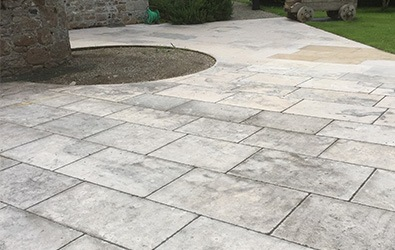 old and dirty garden limestone tiles