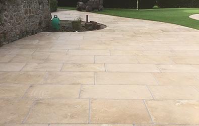 garden limestone tiles cleaned
