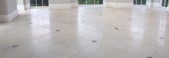 limestone floor restored and polished