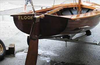 Wooden Boat Repairs Fowey, Cornwall - rear view of a wooden boat