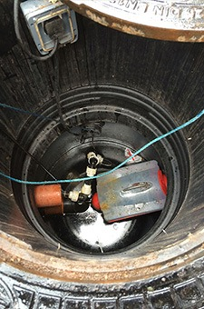 inside of a small septic tank