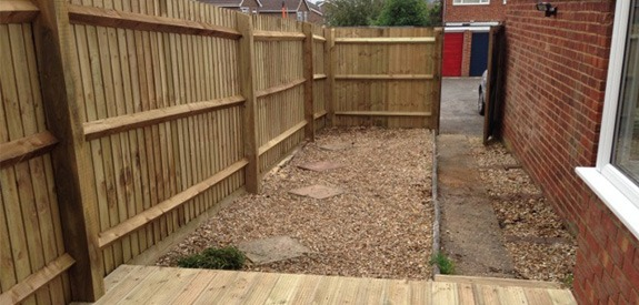 completed garden fence and decking