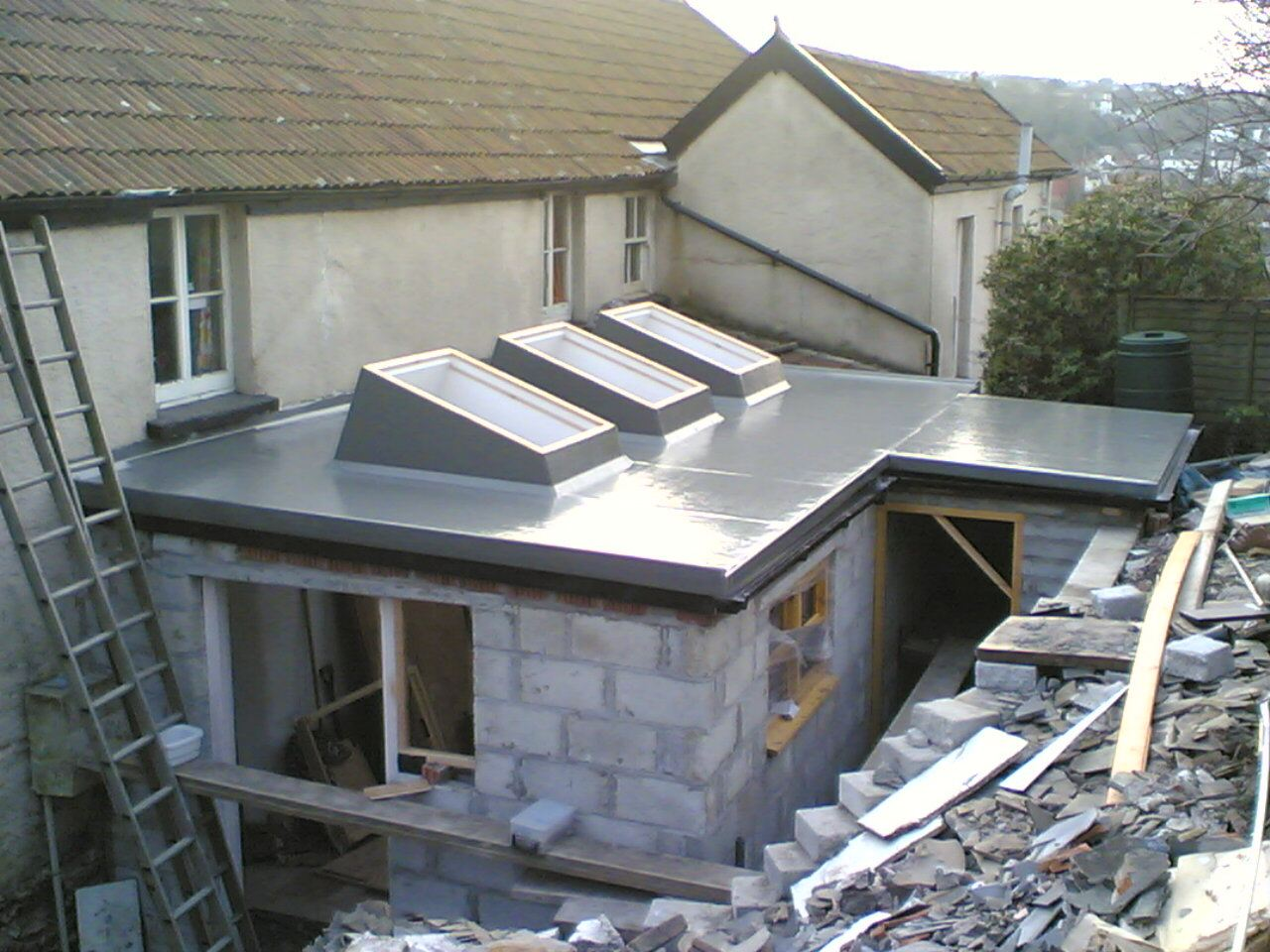 Flat roofing in Abergavenny with 3 skylights
