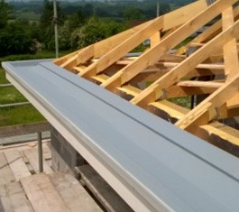Fibreglass gutter lining on new build Monmouth