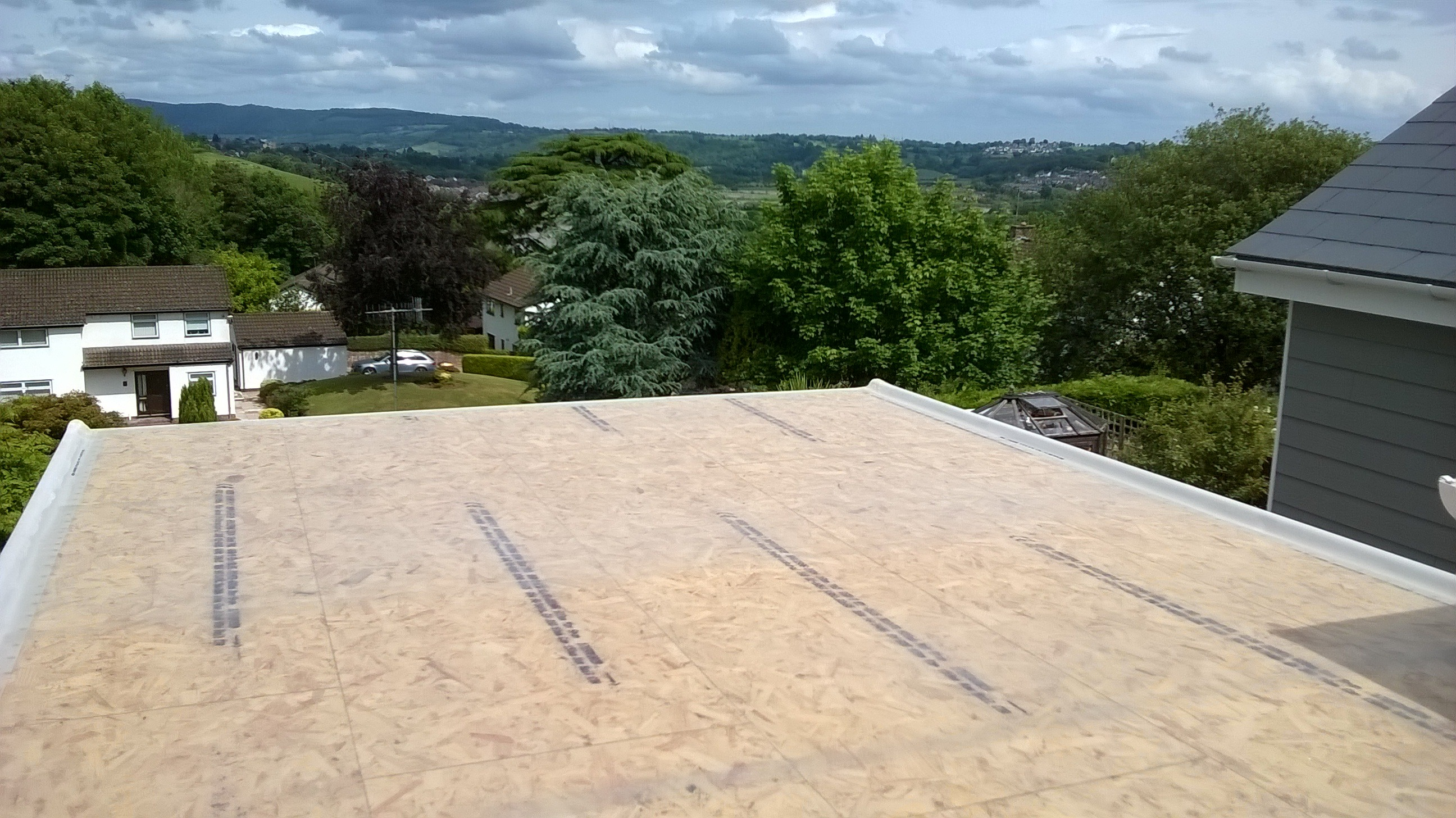 Flat roofing in Newport before flocoat