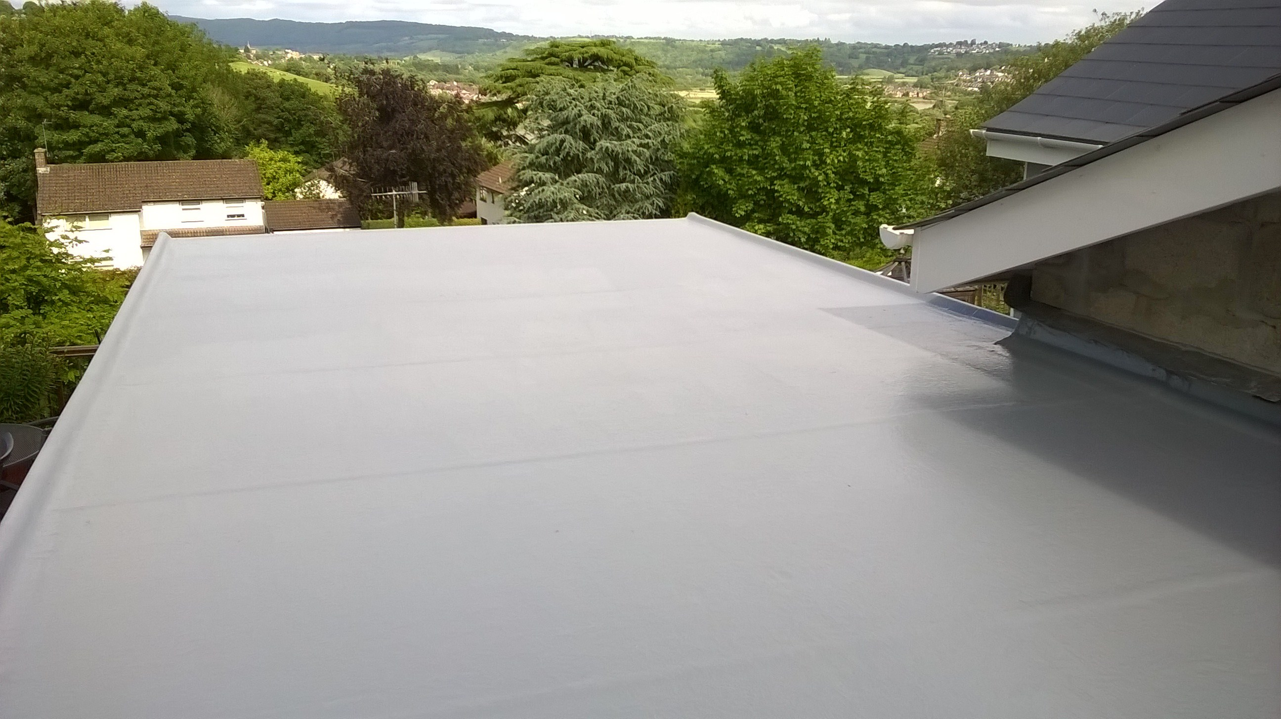 Fibreglass flat roof in Newport completed