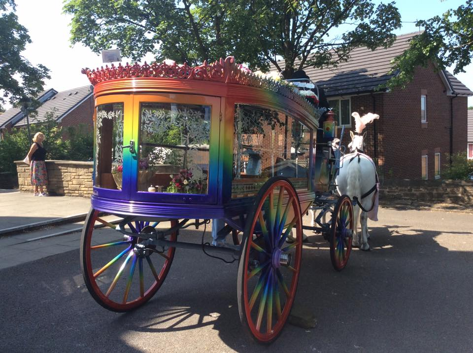 rainbow horse drawn fuenral hearse
