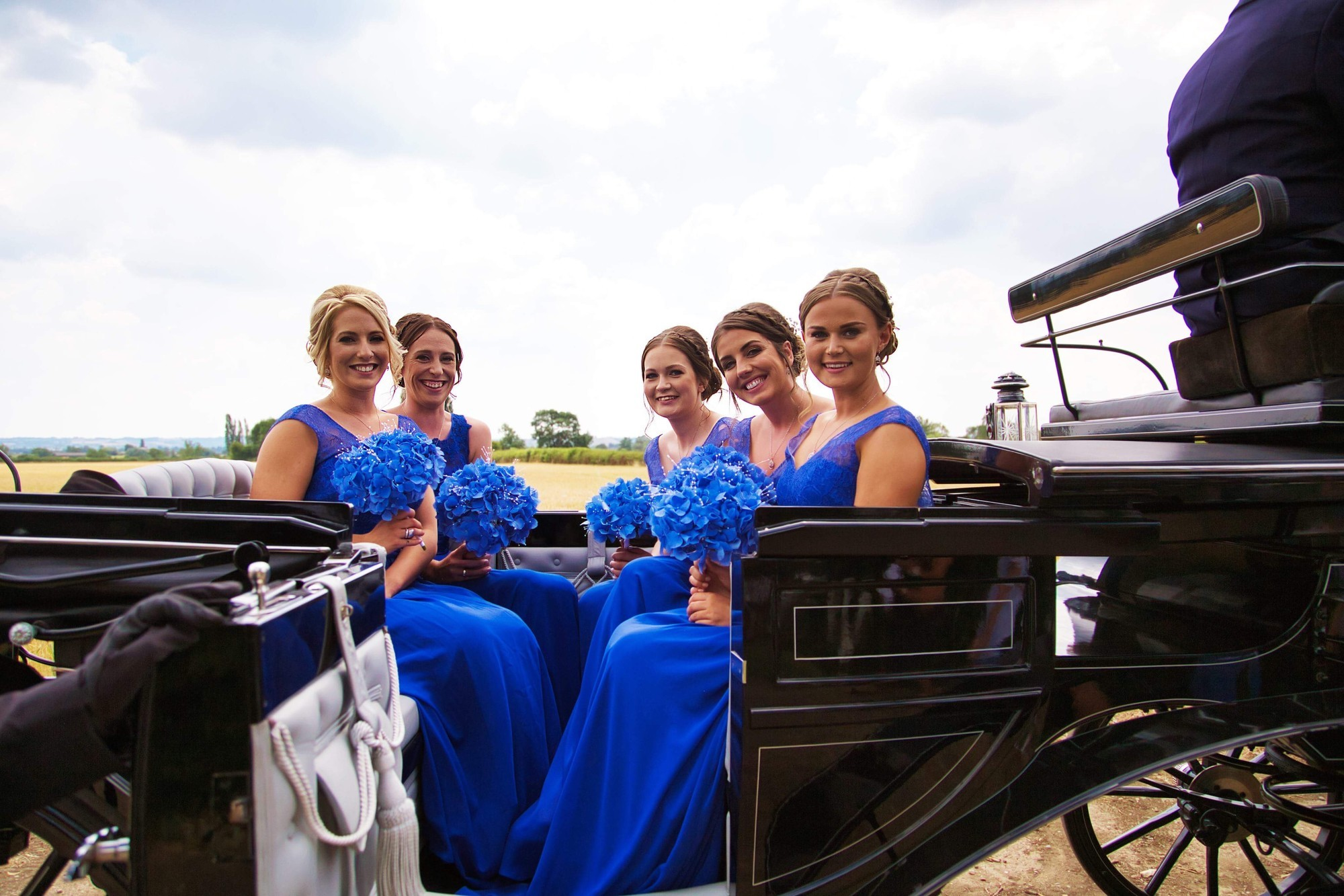 bridal party on a landau carriage