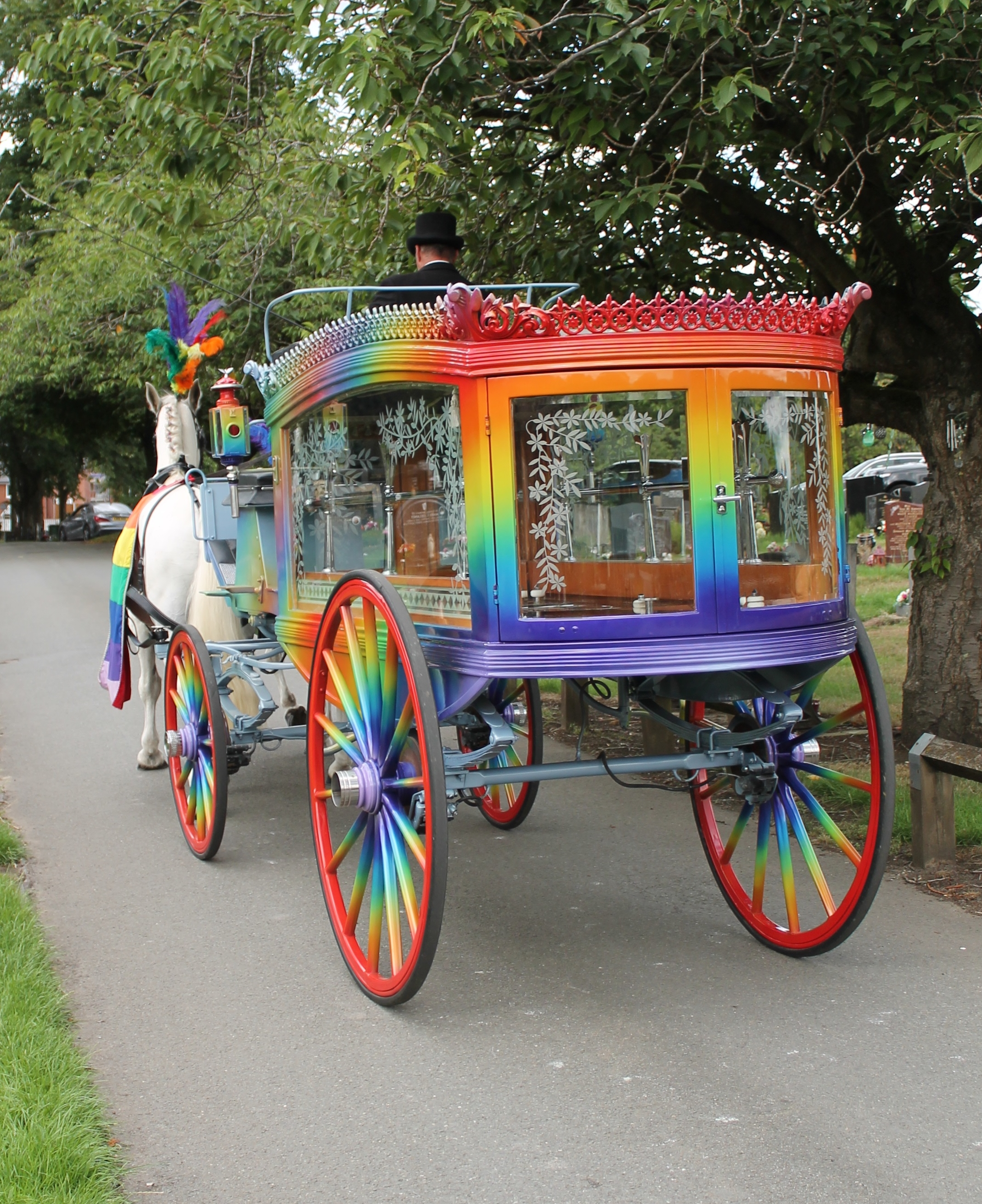 Rainbow horse drawn funeral hearse