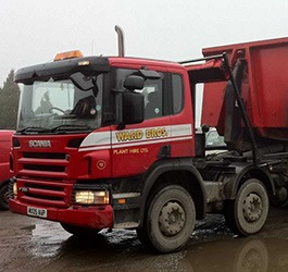 lorry with company graphics