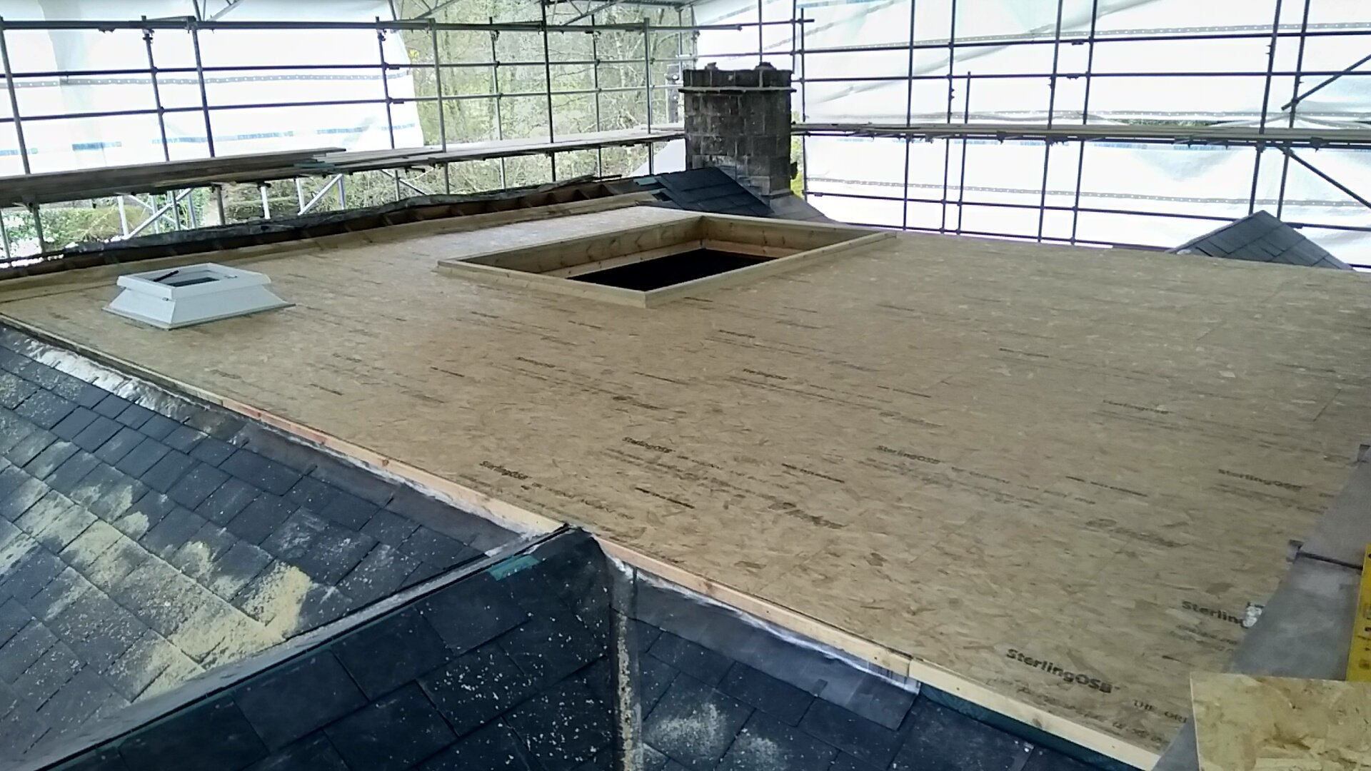 Decking ready for Fibreglass flat roof in Monmouth.