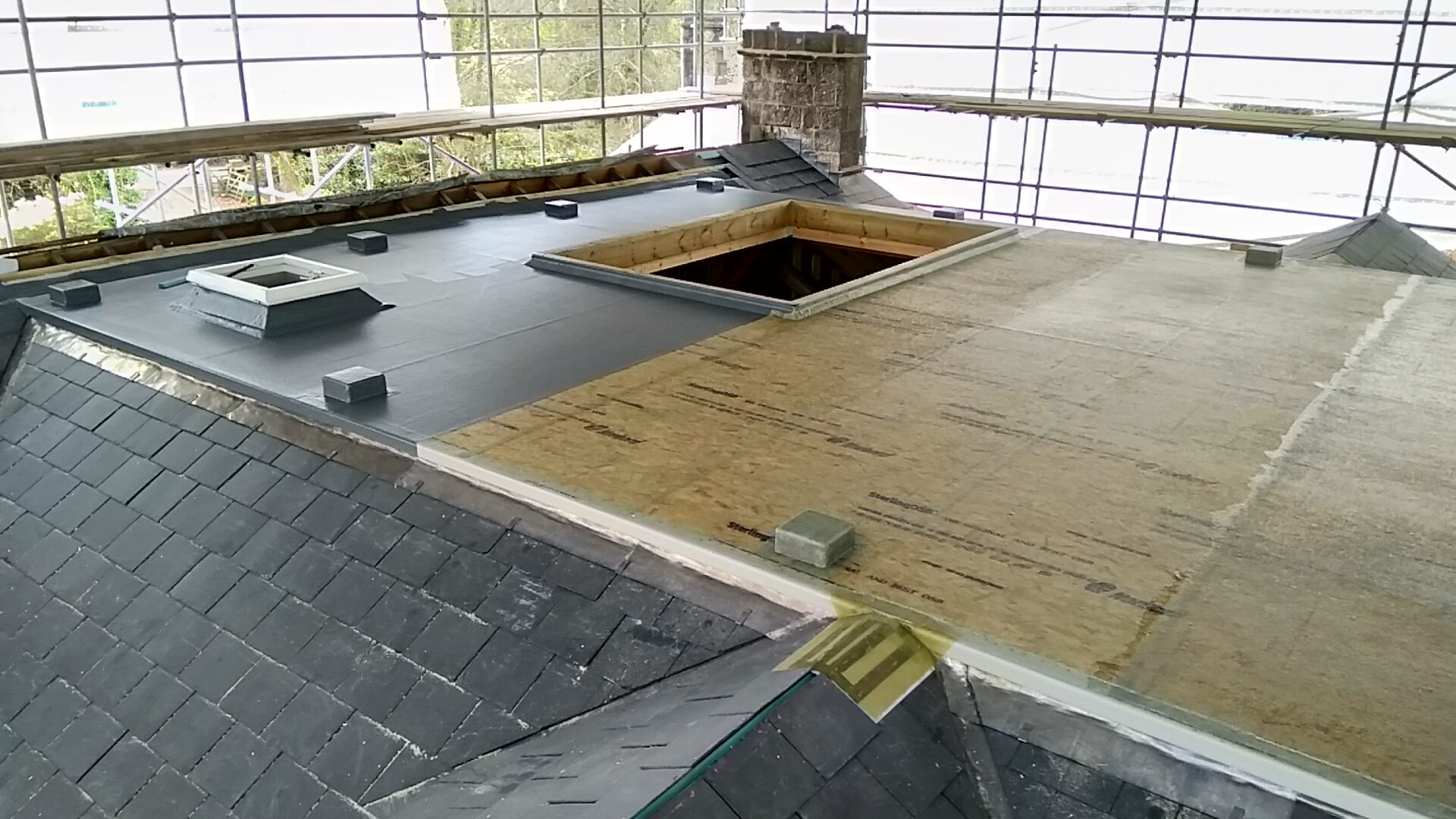 Grp flat roof with fixings for handrail.
