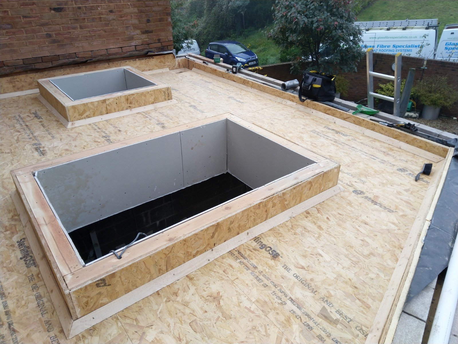 Flat roof in Abergavenny ready for waterproofing.