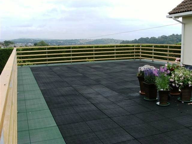 Large balcony fibreglass flat roof with tiles