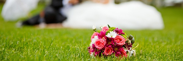 close up view of bouquet on field