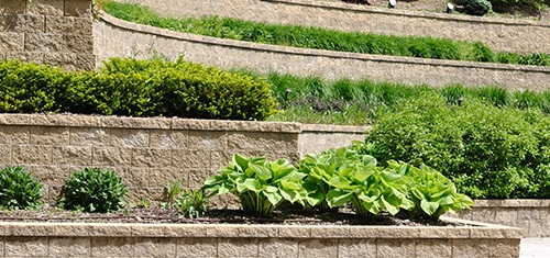tiered retaining walls in garden