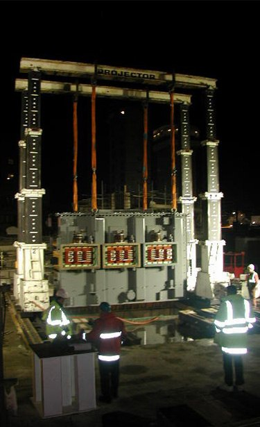fitting a transformer with gantry cranes