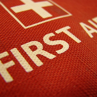 close up of a red first aid kit