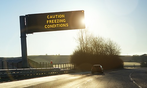 motorway sign warning freezing conditions