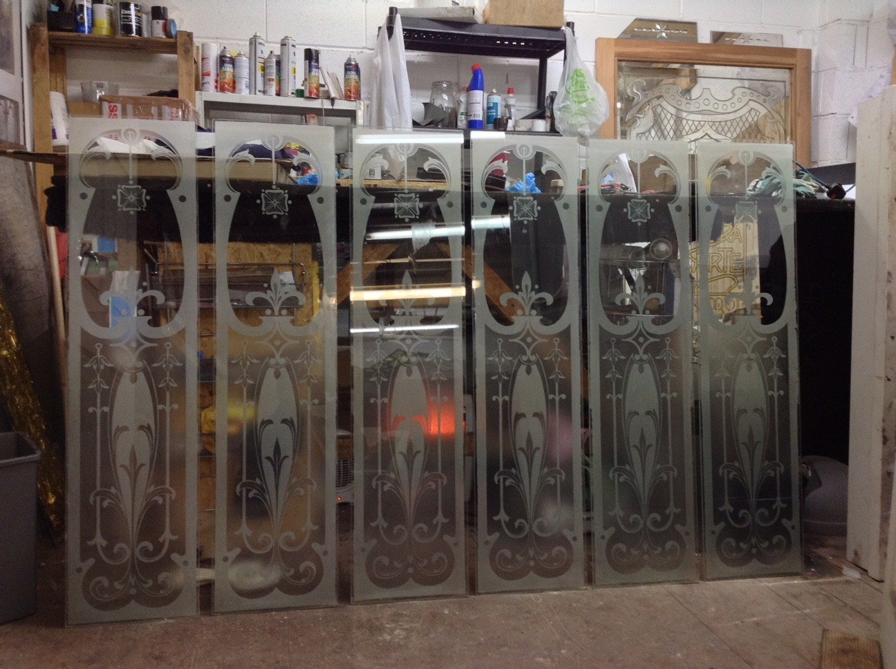 acid etched window panels