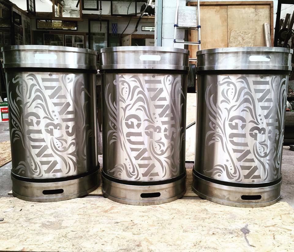 acid etched beer kegs