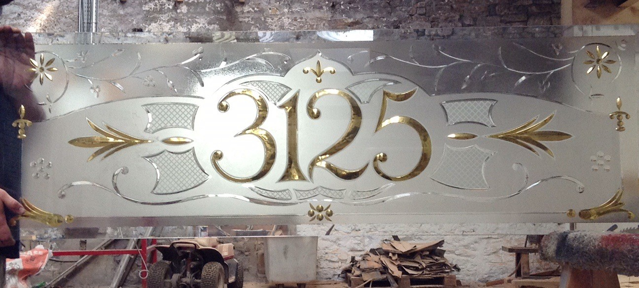acid etched and gold gilded numbers