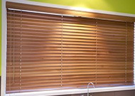 wooden venetian blinds in kitchen