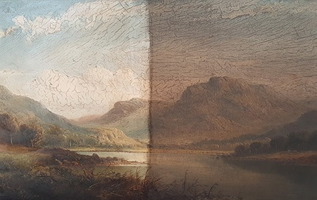 Oil Painting Restoration Specialist in London - partially cleaned oil painting