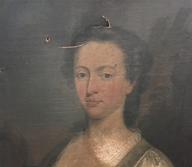 Restoring Damaged Oil Paintings - damaged canvas on oil painting