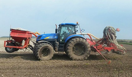 tractor with sowing attachments