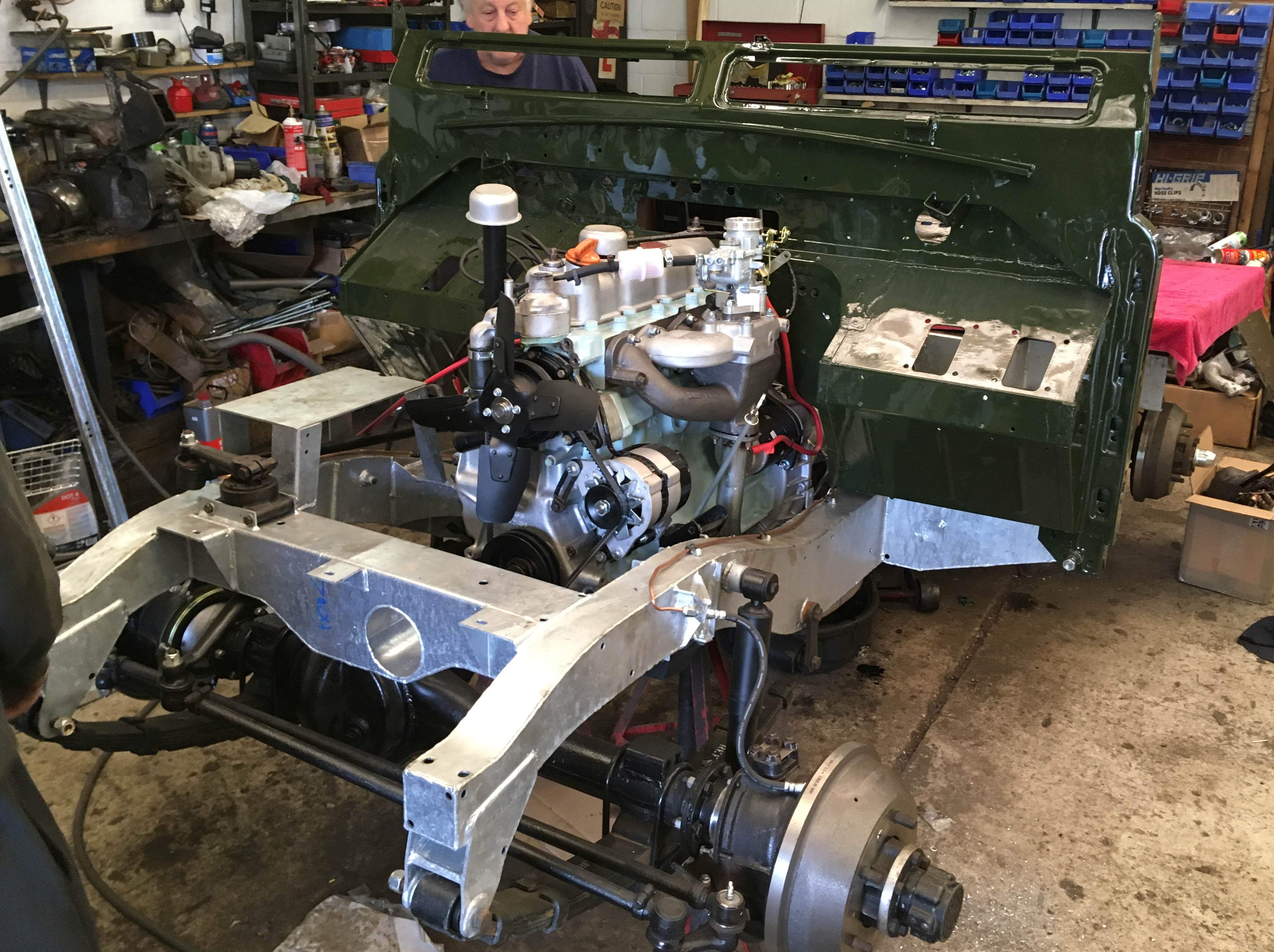 Land Rover Series 2a restoration galvanised bulkhead fitted