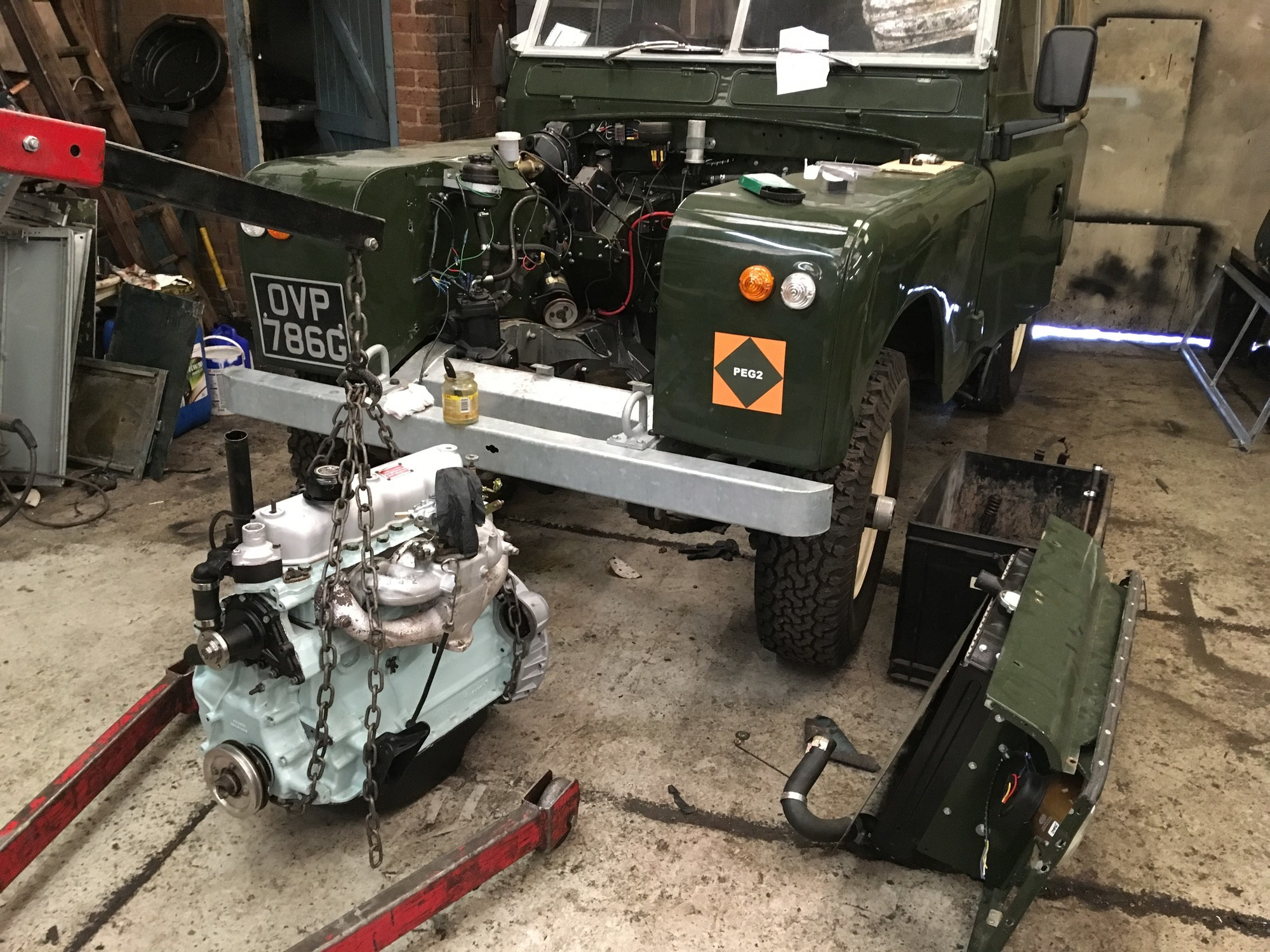 Land Rover Series 2a restored reconditioned engine fitted