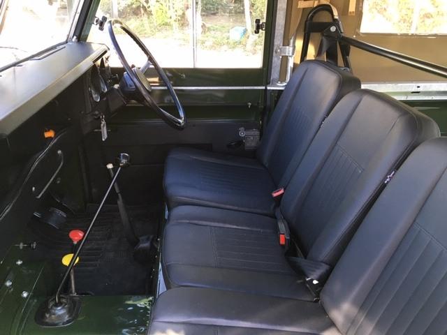 Restored Land Rover Series 3 interior black vinyl soft top