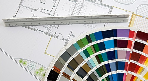 house plans with steel rule and colour swatches