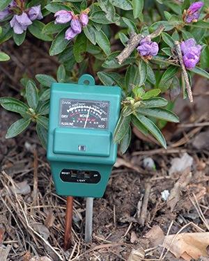 testing the moisture for soil