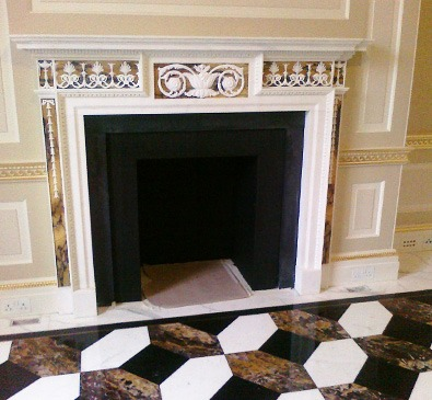 view of restored fireplace