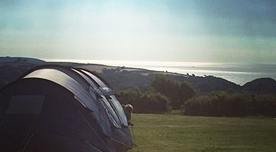 view of tent on campsite field