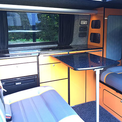 converted campervan interior