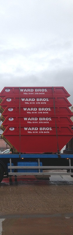 stacks of skip available on hire from ward bros