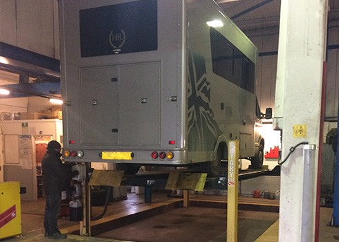 view of a campervan in the workshop