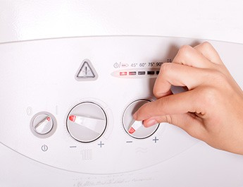 hand adjusting gas boiler control panel