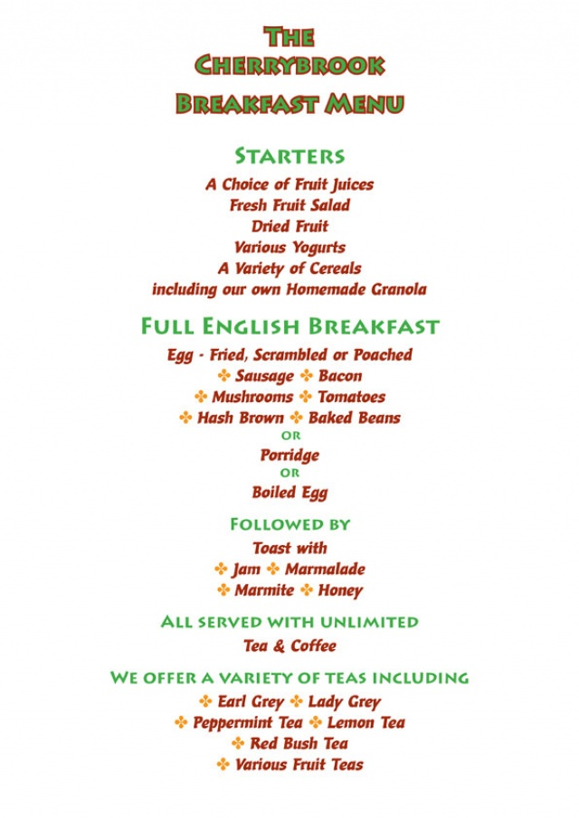Corner Room Breakfast Menu