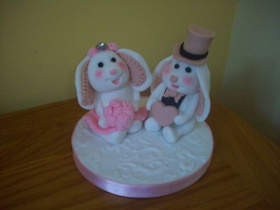 Bunny Rabbits Bride and Groom Cake Topper
