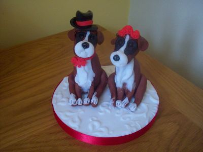 Bride and Groom Boxer Dogs Wedding Cake Topper