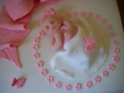 Baby and Flowers Cake Topper
