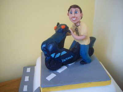 Man on Moped Cake Topper